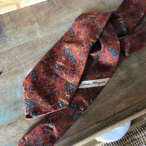 RARE Salvatore Ferragamo 100% silk skinny tie